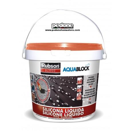 Rubson Silicone liquido 1kg Terracotta impermeabilizza protezione Aquablock Tetti Camper