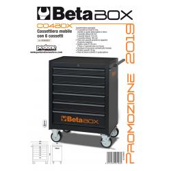 Cassettiera mobile 6 cassetti Beta C04 BOX dark carrello portautensili officina Vuota