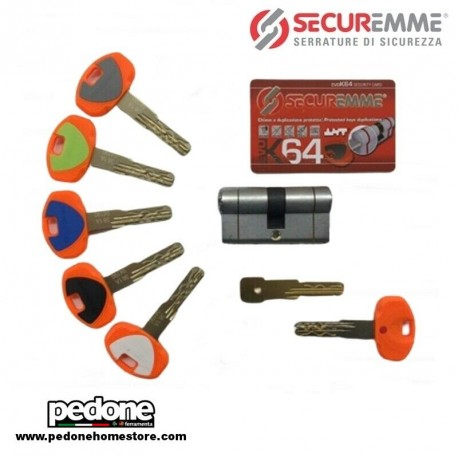 Cilindro Europeo SECUREMME EVO K64 Alta Sicurezza 5 Chiavi + Chiave da Cantiere