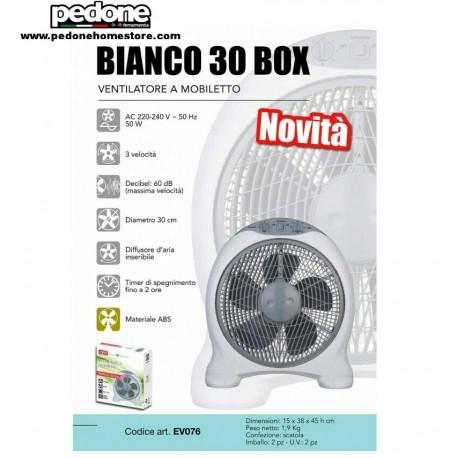 VENTILATORE DA APPOGGIO TAVOLO BOX DIAMETRO 30 CM 50W CFG EV076 BIANCO CON TIMER