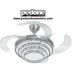 VENTILATORE A SOFFITTO CHANDELIER JOHNSON CRISTALLO CON LUCI A LED