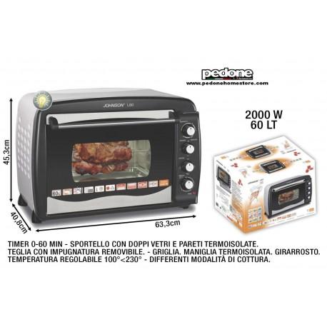 Forno Elettrico Ventilato LT 60 2000W Con Luce JOHNSON Girarrosto